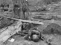 A very young soldierlies unburied at Antietam. It was the one bloodiest day in all American history. Although his death may have been a necessary step in the abolition of slavery, he died because of diverse economic and cultural interests.