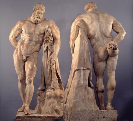 """Lysippos' Herakles (called the """"Farnese""""). He was strong, but used his strength for virtuous purposes."""