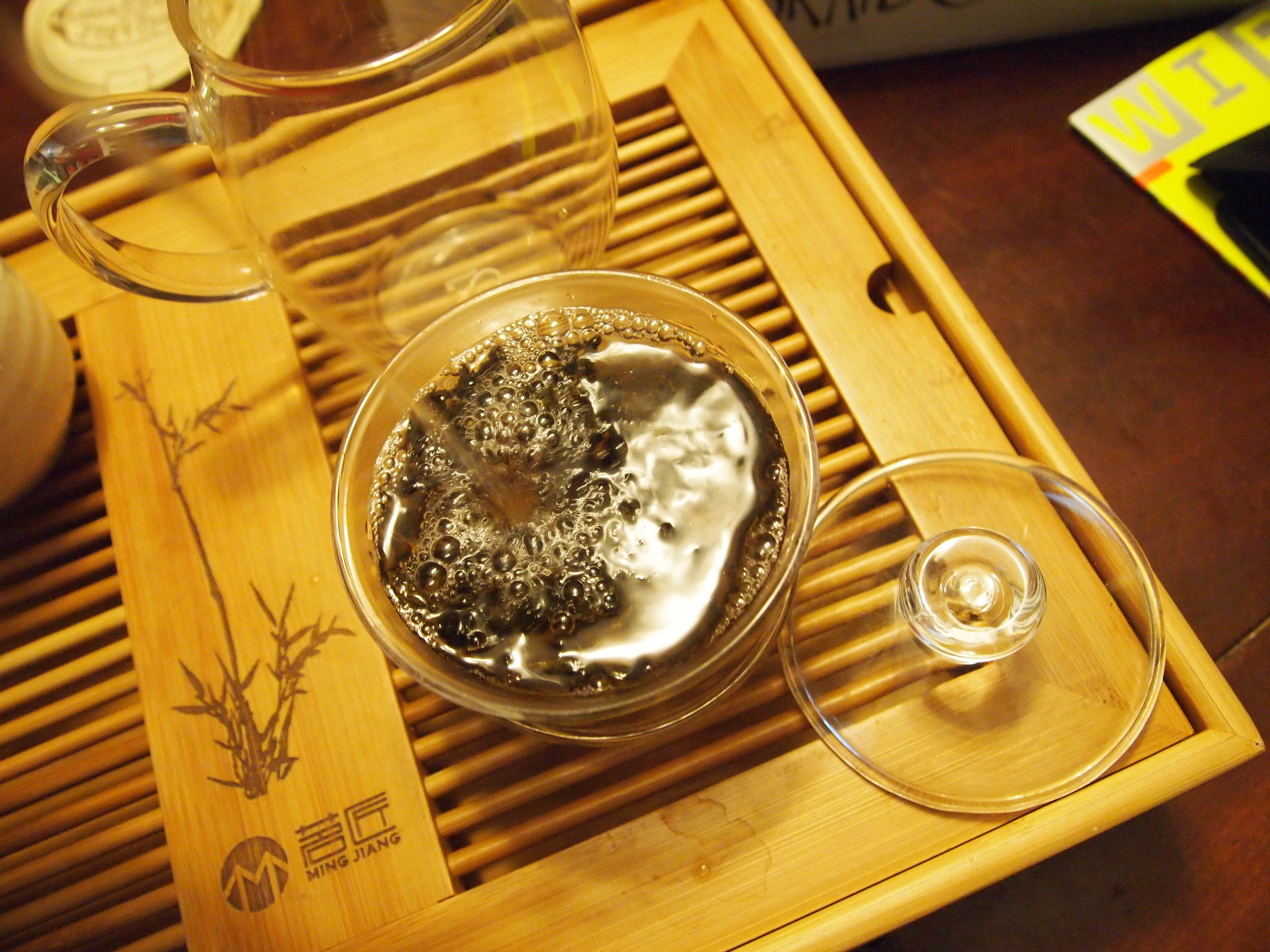 For water temperature, I chose 190F. This is a dark, robust oolong that can take some punishment. For leaf ratio, remember that it is  an experiment , so you'll learn each time what the ideal amount is.