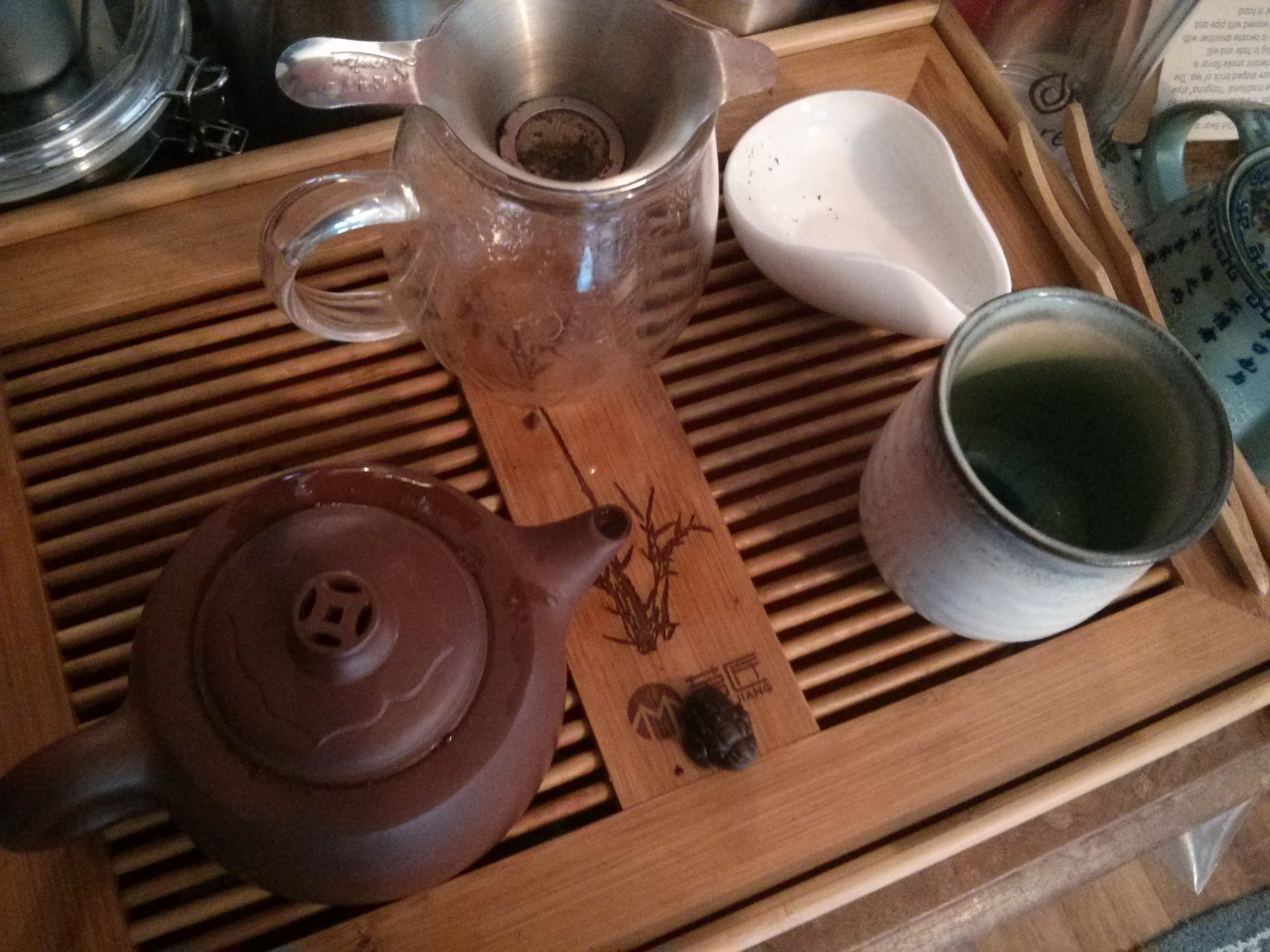 Yixing pot with rinse in 200F water. For the first session I flash brewed, but I would definitely recommend a 30 second steeping as this tea brews lightly.