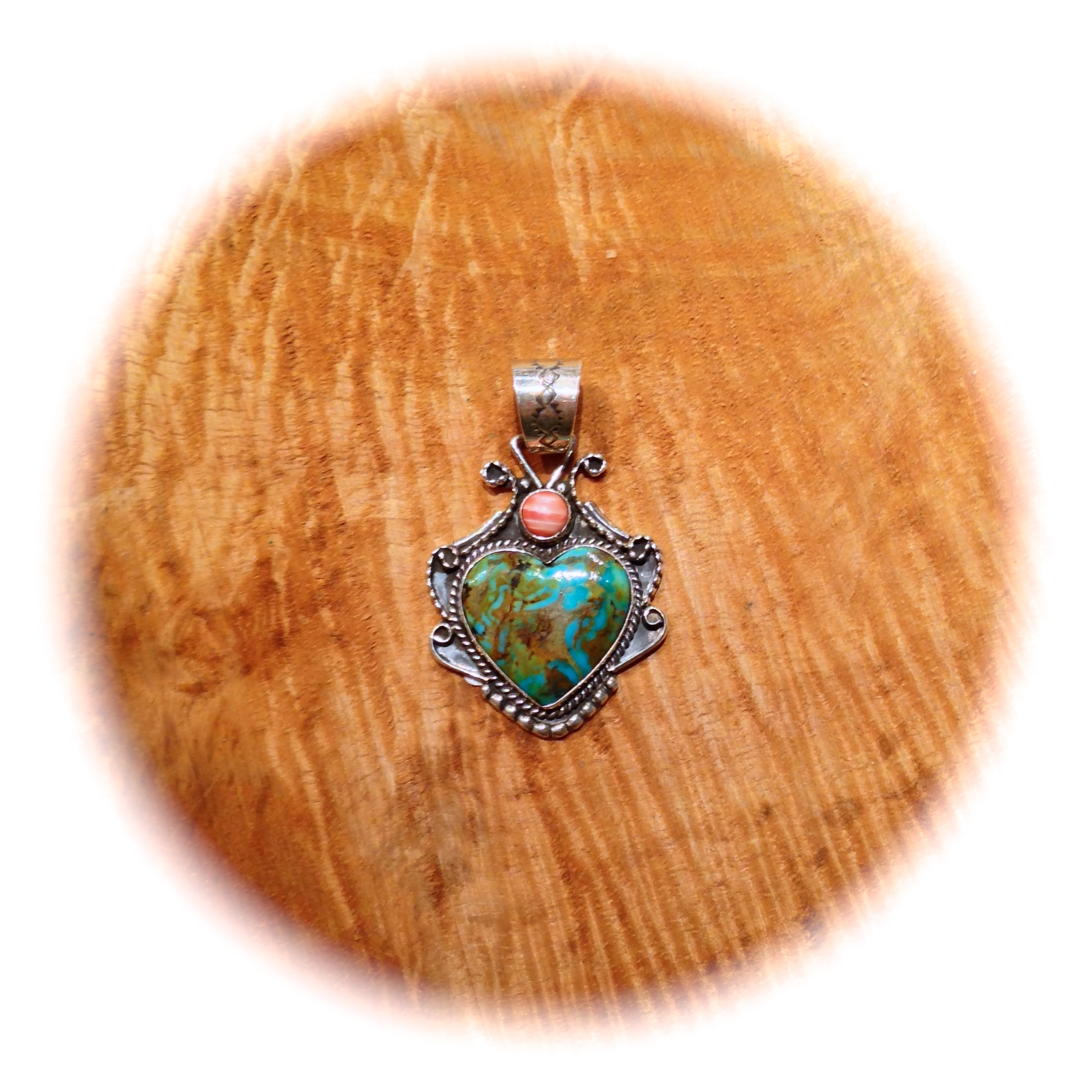 Turquoise Mountain Heart with Spiny Oyster Accent by Martha Willeto, Navajo