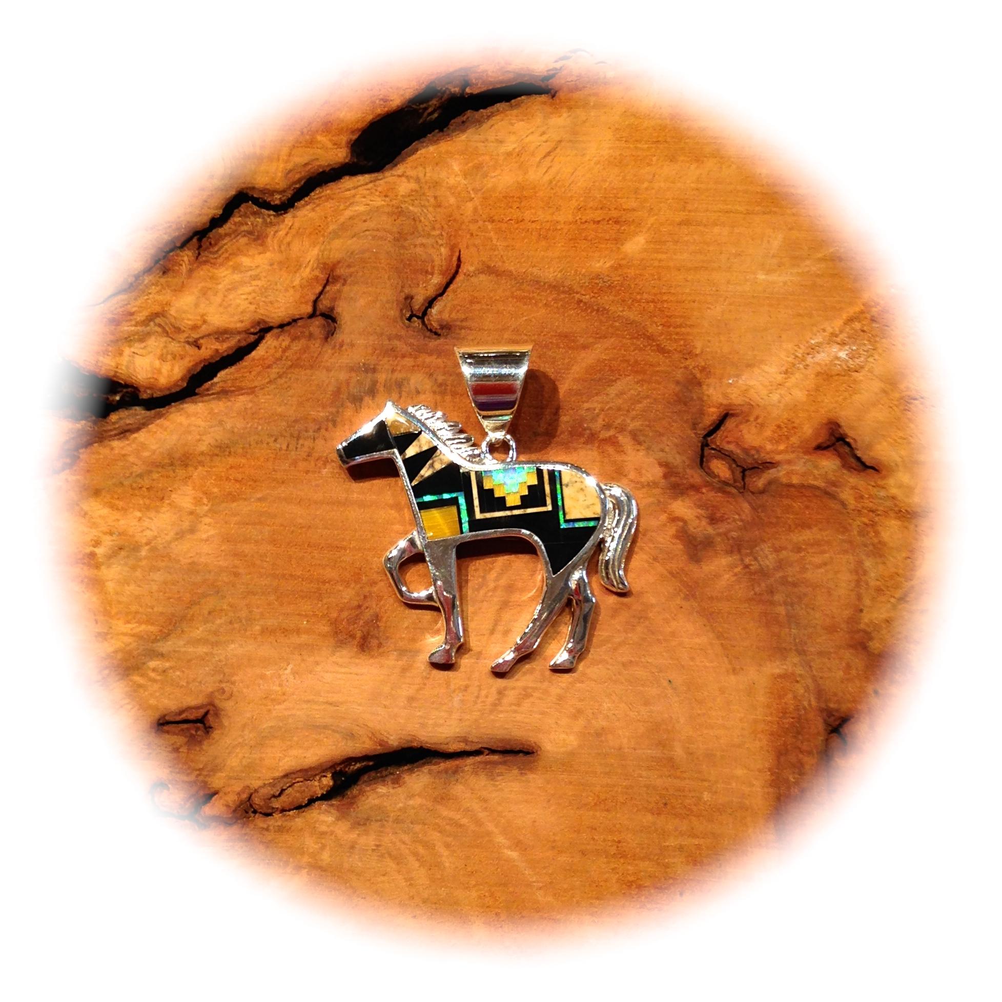 PICTURE JASPER, ONYX, TIGER'S EYE, LAB OPAL HORSE PENDANT, ZUNI-MADE
