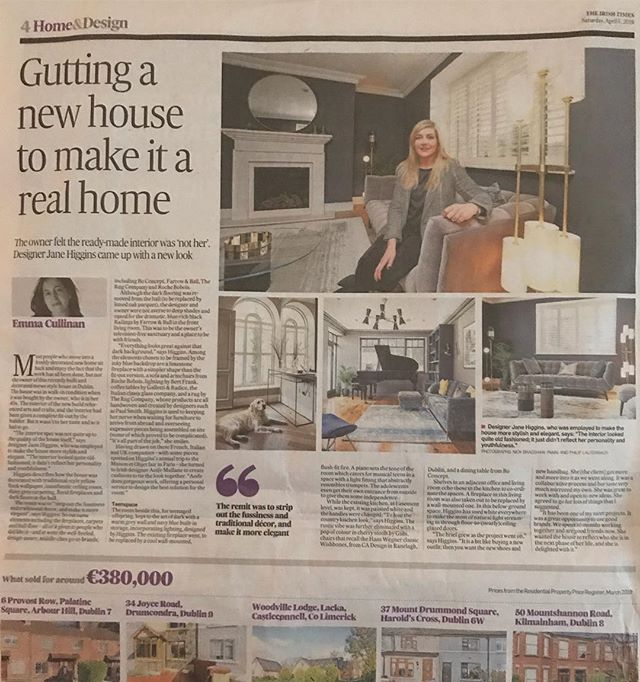 Today's Irish times feature on making a home out of a new house, delighted to be featured @irishtimesnews @cadesign.ie @aoife_mullane_design @rochebobois @maoliosamurray @boconcept_ireland @gallottieradice @bertfrankltd @therugcompany @rainbowpainting.ie  #homedecor #homedesign #interiordesign #irishdesign