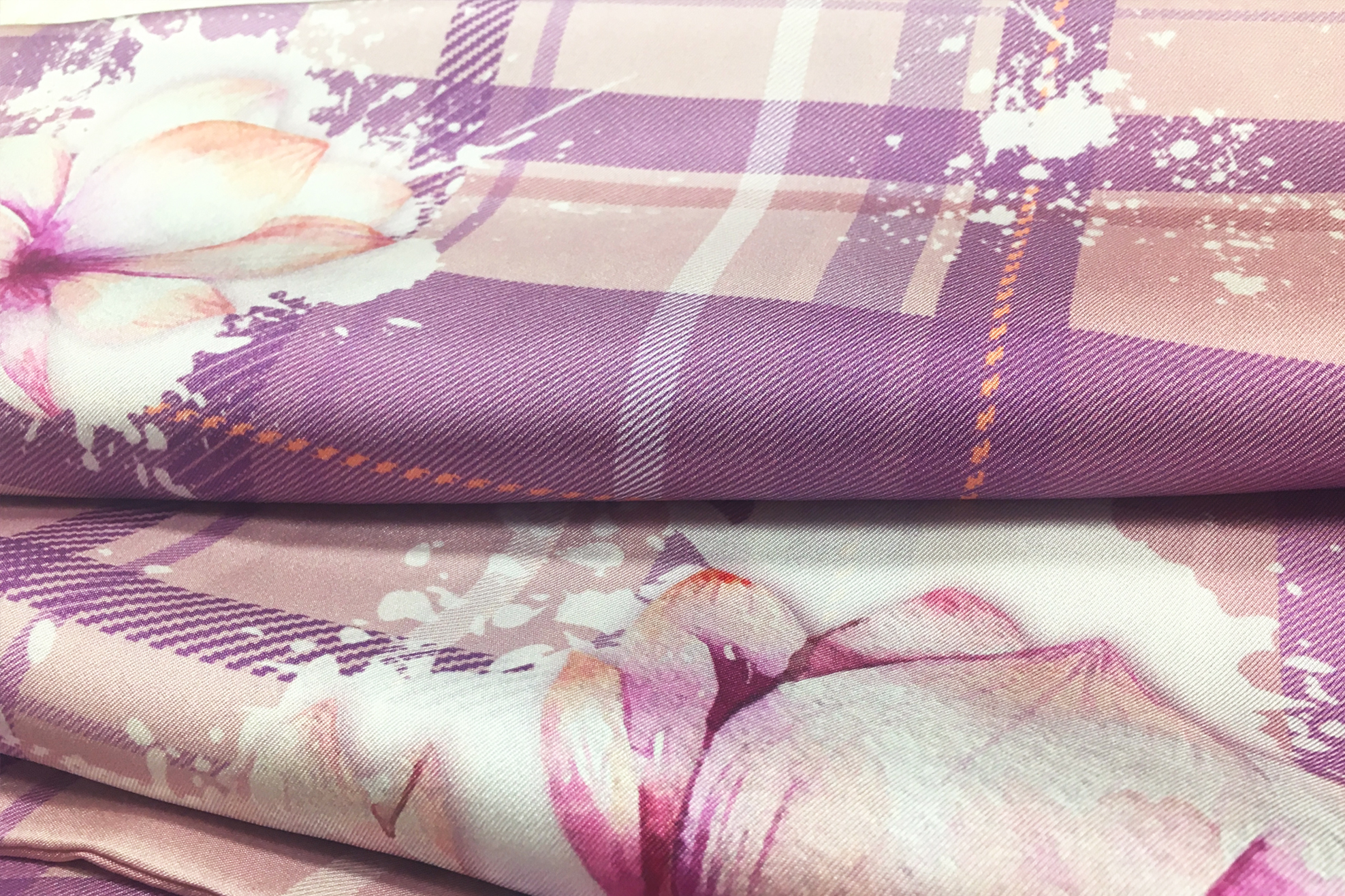 HIGHLAND FLORALS - 100% Mulberry Silk Twill.Reversible design featuring Floral Plaid and plain Tartan design.