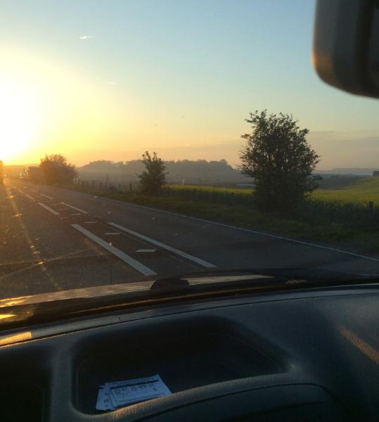 Sun rise near Stonehenge.