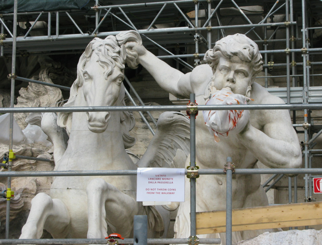 Even the Trevi Fountain was covered in scaffolding