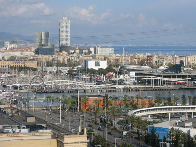 Looking down from Montjuic to the waterfront