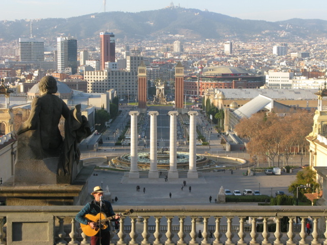 Looking down over the Magic Fountain to the Placa d'Espanya