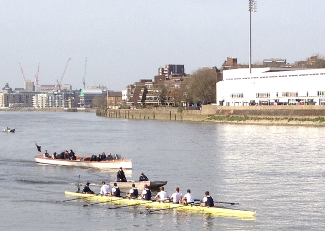 Oxford boat race team having their final training session before the big day - couple of kiwis on board