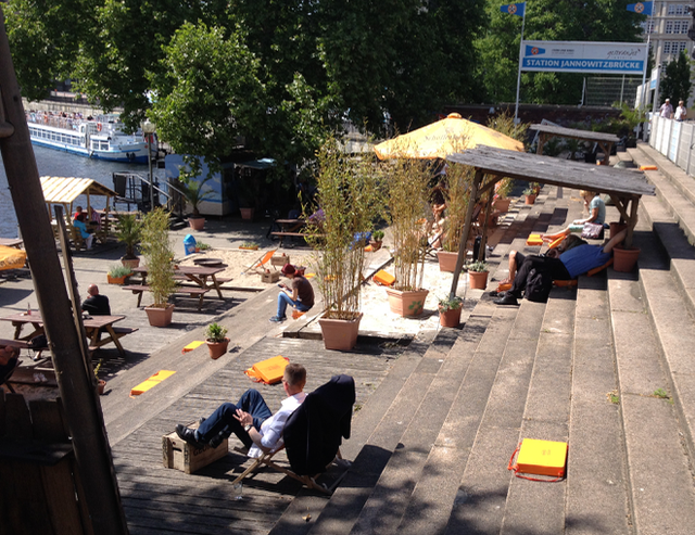 A hot day and Berliners create their own beach