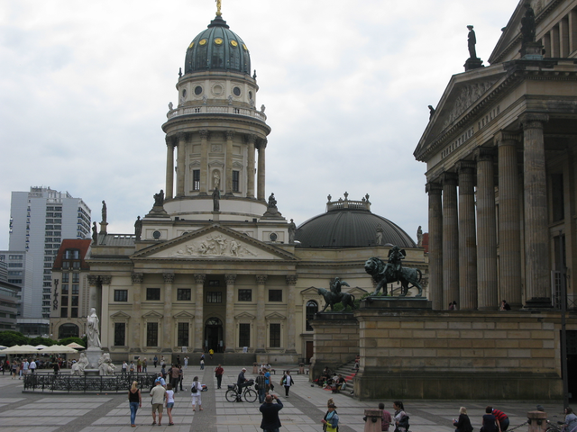 The Gendarmenmarkt square with German Cathedral in the background