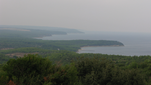 Looking down on Anzac Cove and the rugged coastline from Chunuk Bair Memorial