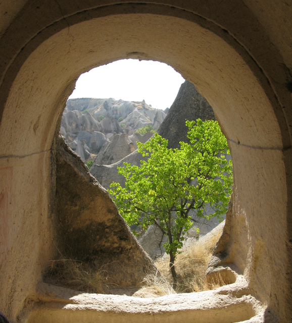 Looking out from some of those caves