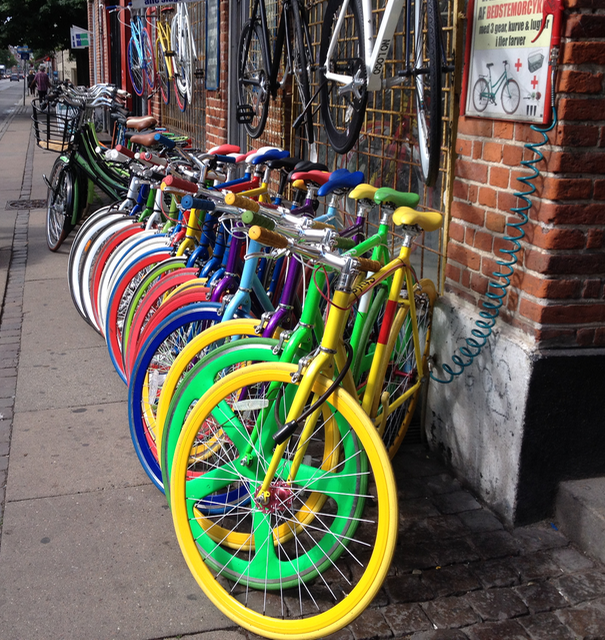 Bicycles all shapes, sizes and colours
