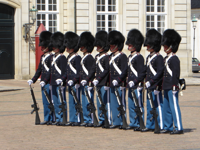 Changing of the Guard takes place at 12 noon everyday at Amalienborg Palace - which is made up of four identical buildings that house many members of the Danish Royal Family