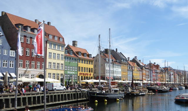 Nyhavn - the 17th   waterfront with its brightly coloured town houses