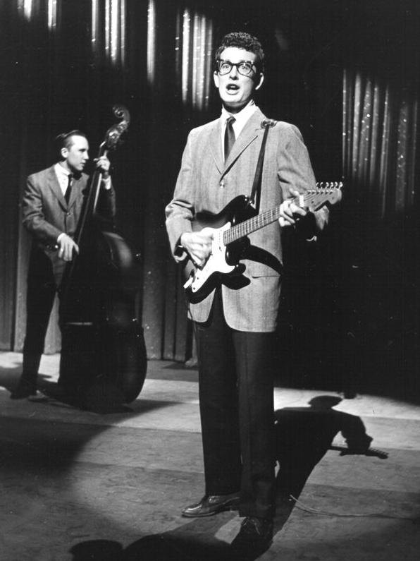 Buddy Holly with his Stratocaster on the Ed Sullivan Show, January 1958.
