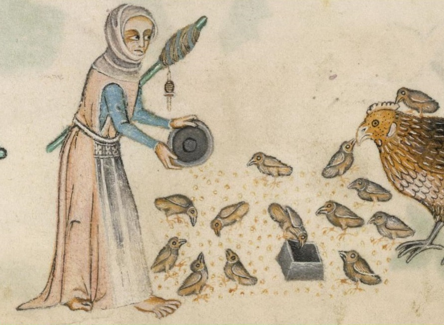Luttrell Psalter f166v Woman's Kirtle Gown Apron & Veil
