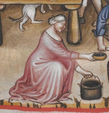 Tacuinum Sanitatis (Vienna MS), f74v - Woman's linen cap (St Birgitta's)