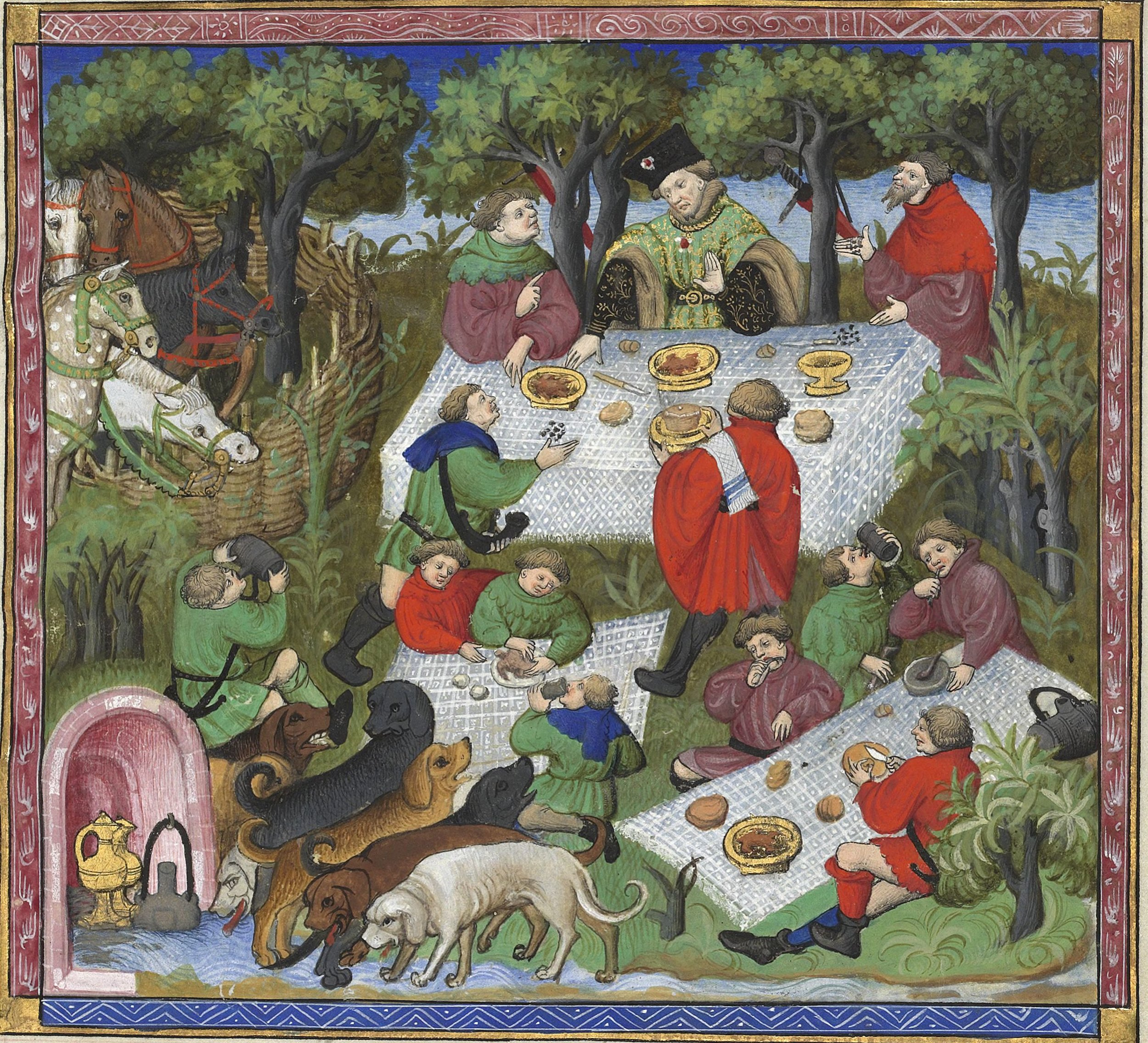 Gaston Phoebus BNF 616, f67r - Feasting accessories