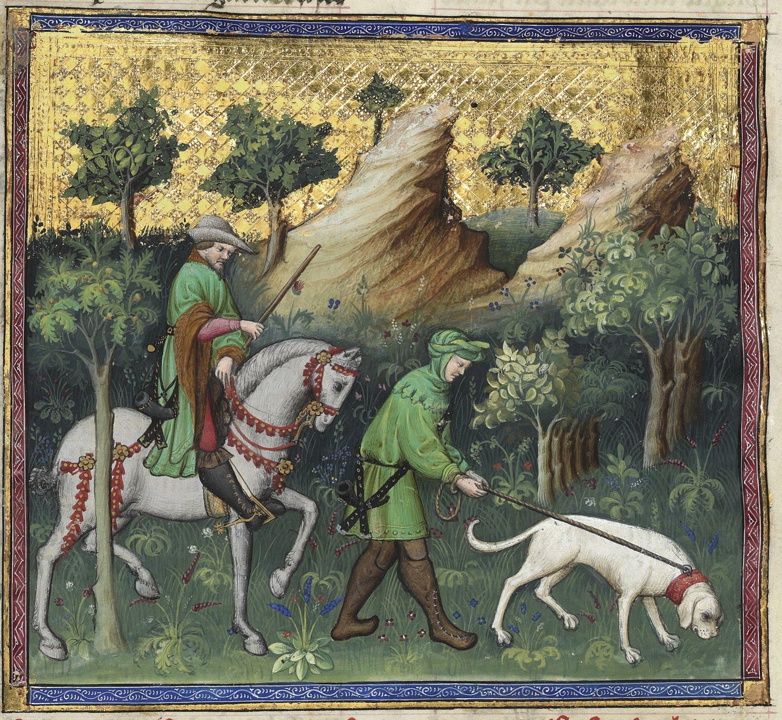 Gaston Phoebus (BNF 616), f56v - High vs Low Hunting Dress