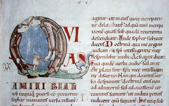 Moines fendant du bois, Grégoire le Grand, Moralia in Job, Cîteaux, v. 1111 - Dijon, BM, ms. 170, fol. 59