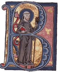 Portait de Bernard de Clairvaux dans une lettrine ornant un manuscrit de La Légende dorée, vers 1267-1276.