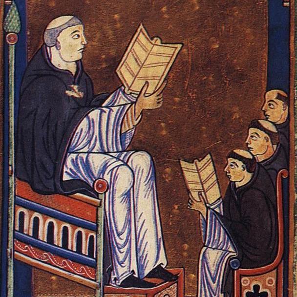 Hugo von Sankt Viktor beim Unterricht in seiner Klosterschule in Paris; Darstellung aus einem von Hugos Werken; Die Handschrift befindet sich heute in der Universitätsbibliothek Oxford, England.