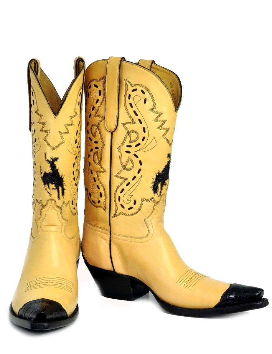 "Caiman Buckaroo Inlay -  12"" tall with caiman toe and heel foxing and caiman inlaid buckaroo. Stacked leather heels and hand carved leather toe box. Features chocolate buck-stitching. Tres cool!"