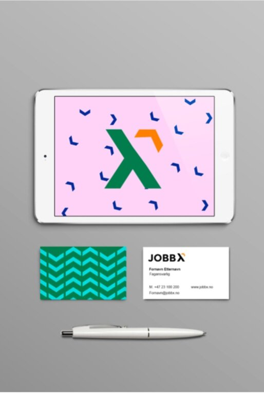 jobb x - identity - JOBB X is an educational offering and career center for young adults, and is located under Antirasistisk Senter (Center Against Racism).Daughter has designed JOBB X's new visual identity. The logo is a symbol of