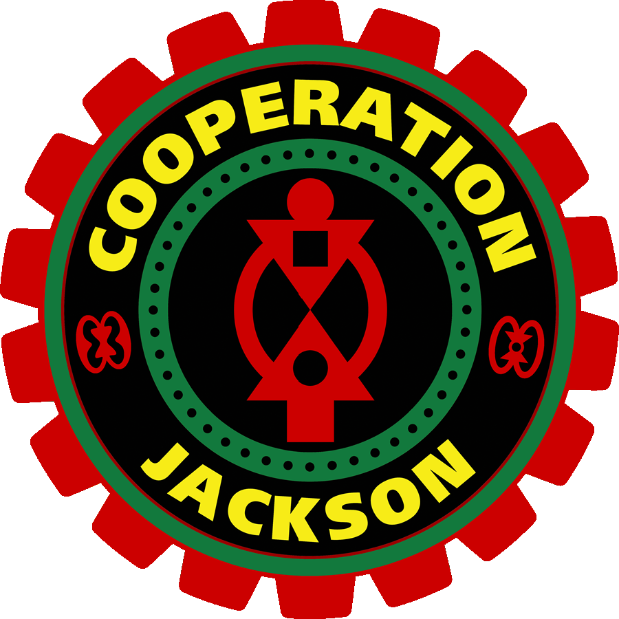 """In Ghana, West Africa, the Asante people use wisdom symbols known as  adinkra  to recall the virtues and values of traditional life. Our   Cooperation Jackson   logo incorporates three adinkra: At the center is  Boa Me Na Me Mmoa Wo,  or """"Help me and let me help you,"""" the symbol of cooperation and interdependence. On the left is  Nkonsonkonson,  a reminder to contribute to the community, that """"In unity lies strength."""" Finally on the right is  Wo nsa da mu a,  """"If your hands are in the dish, people do not eat everything and leave you nothing,"""" which explains the importance of participation in self-government."""