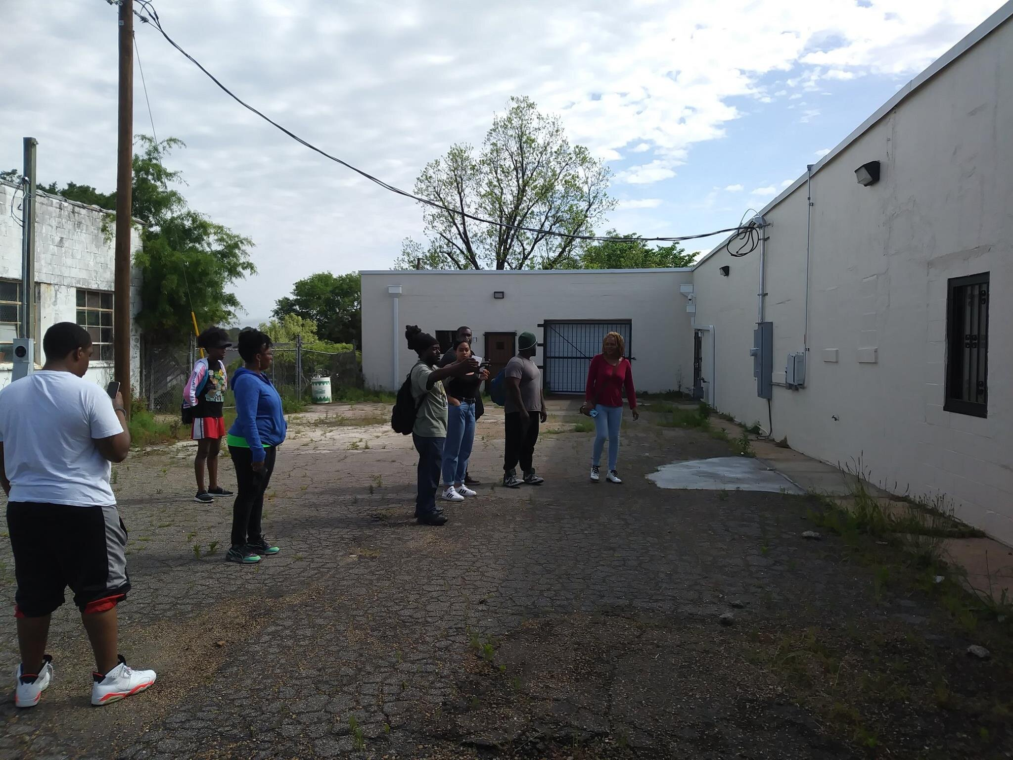 Surveying the Imari Obadele Center for Community Production, one of the industrial centers of the Fannie Lou Hamer Community Land Trust.