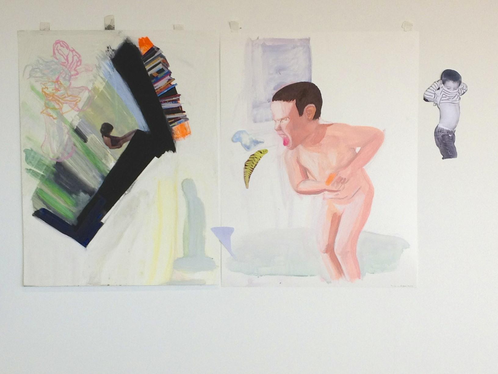"Quiet/Loud Mixed media on Yupo paper, Digital prints 46"" x 26"" 2013"