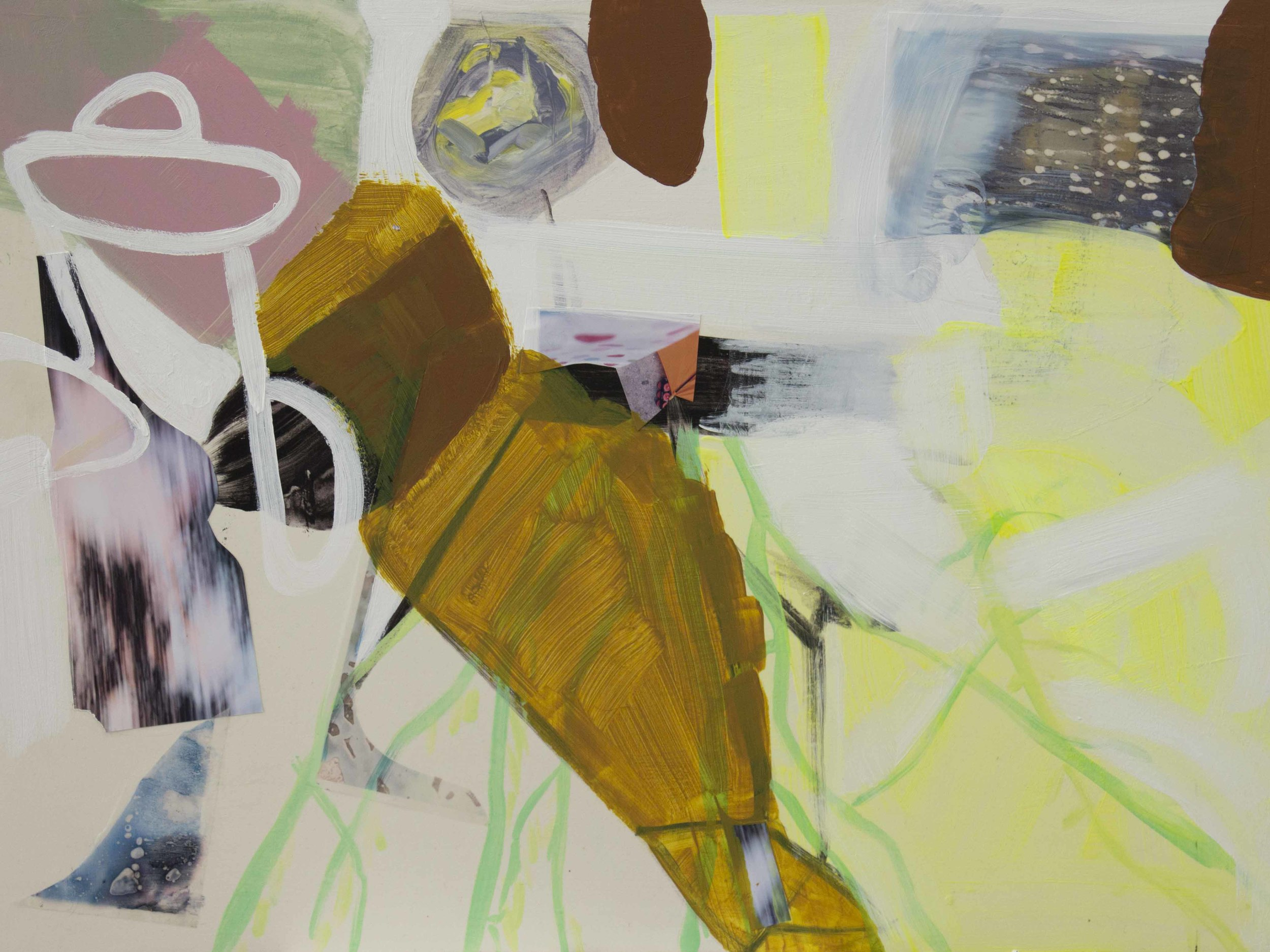"Wet Spring Acrylic, gouache, digital prints on gesso board 30"" x 22"" 2014"