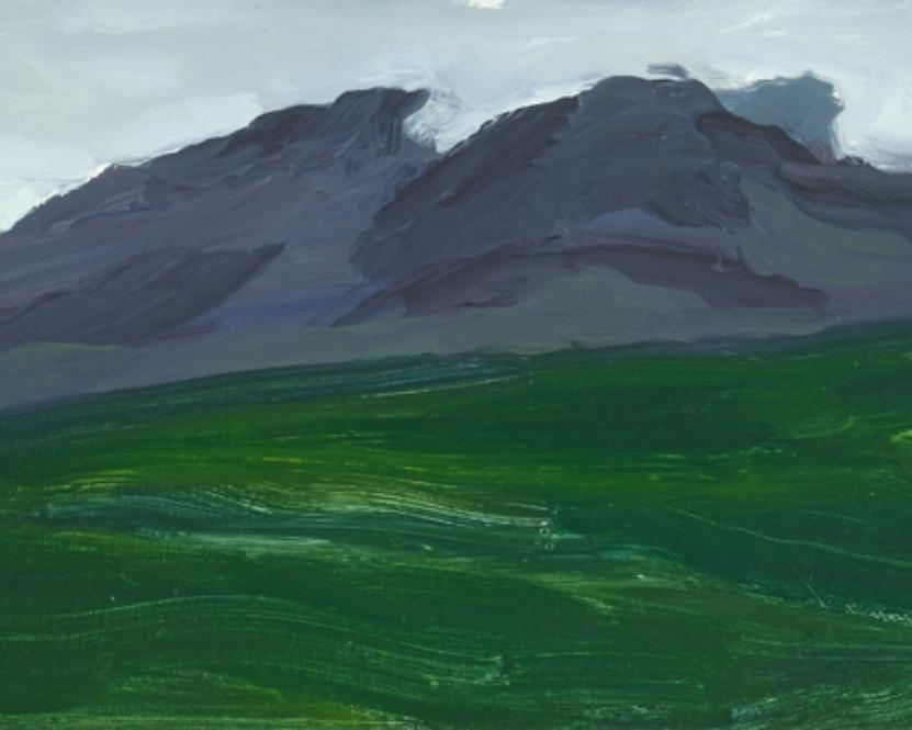 "The Bridgers (Montana) Oil on Masonite panel 10"" x 18"" 1998"