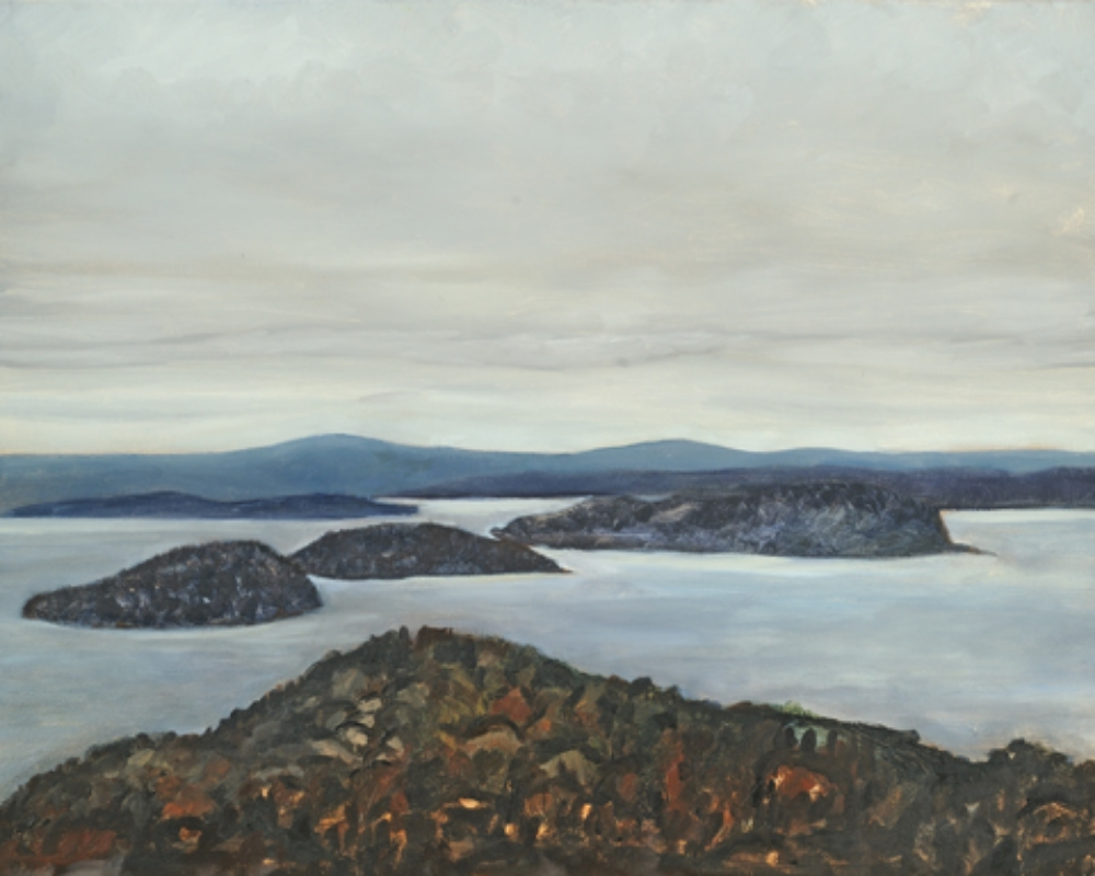 "Islands from Cadillac Oil on panel 18"" x 24"" 2002"