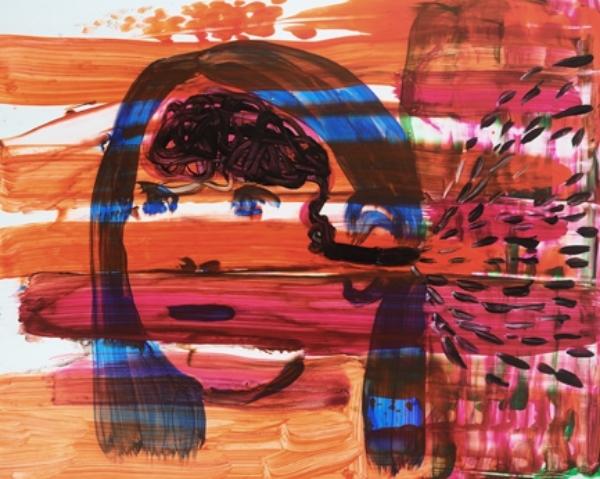 "Input II (too much to process) Acrylic on Yupo 14"" x 11"" 2014"