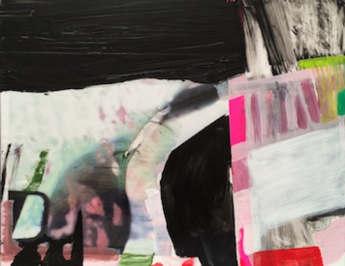"""Broken Plane Acrylic and mixed media on wood panel 14"""" x 12"""" 2014"""