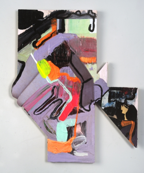 Circuit Acrylic and mixed media on cut wood panel 2013
