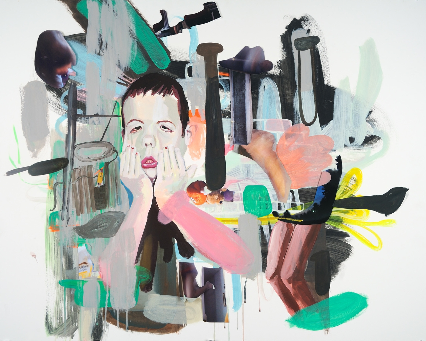 "Felix / Chaos Mixed media, gouache on paper board 40"" x 26"" 2012"