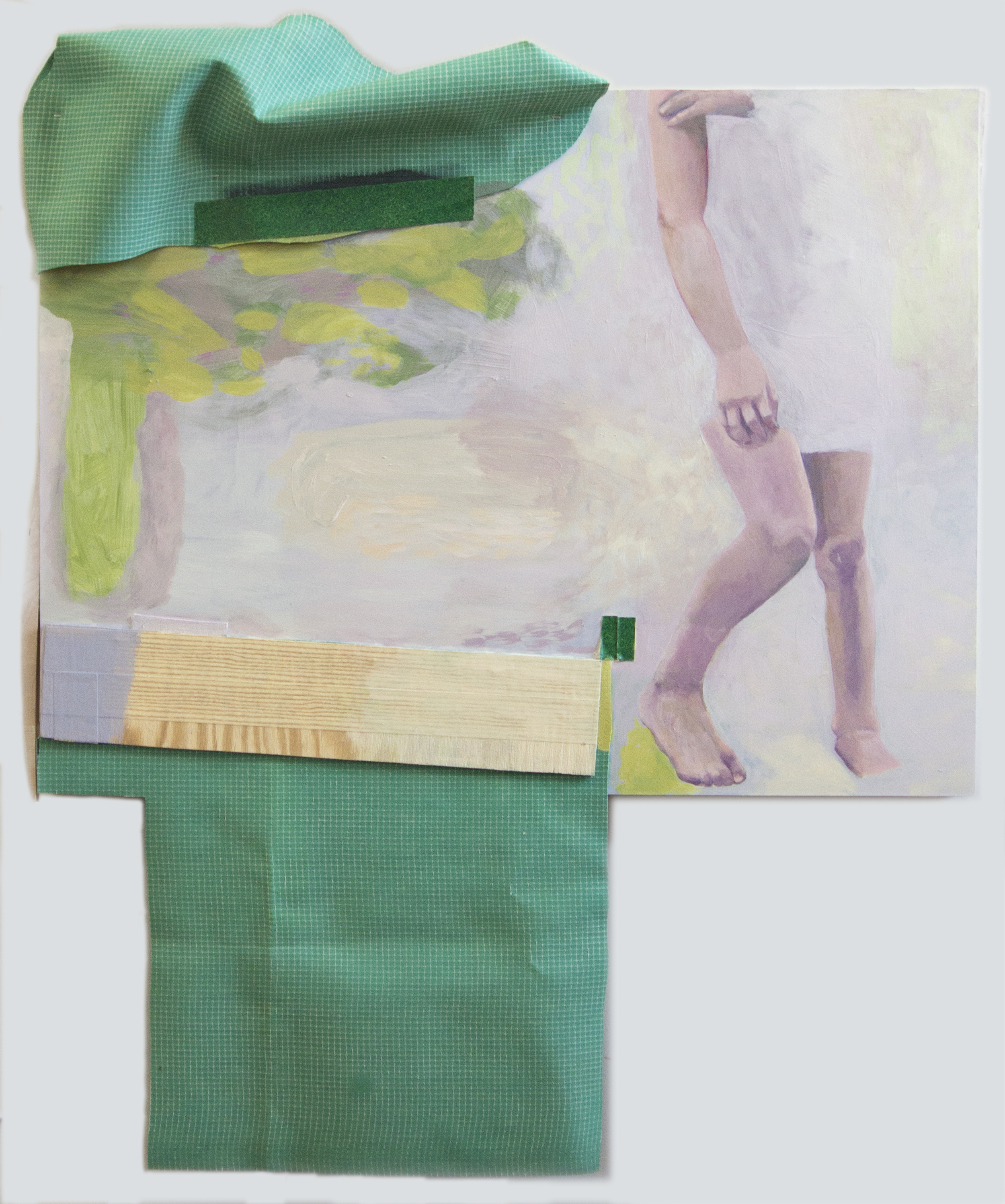 """Girl Acrylic, wood, tape, canvas and rubber matting on cradled clayboard panel 43"""" x 51"""" x 6"""" 2014"""