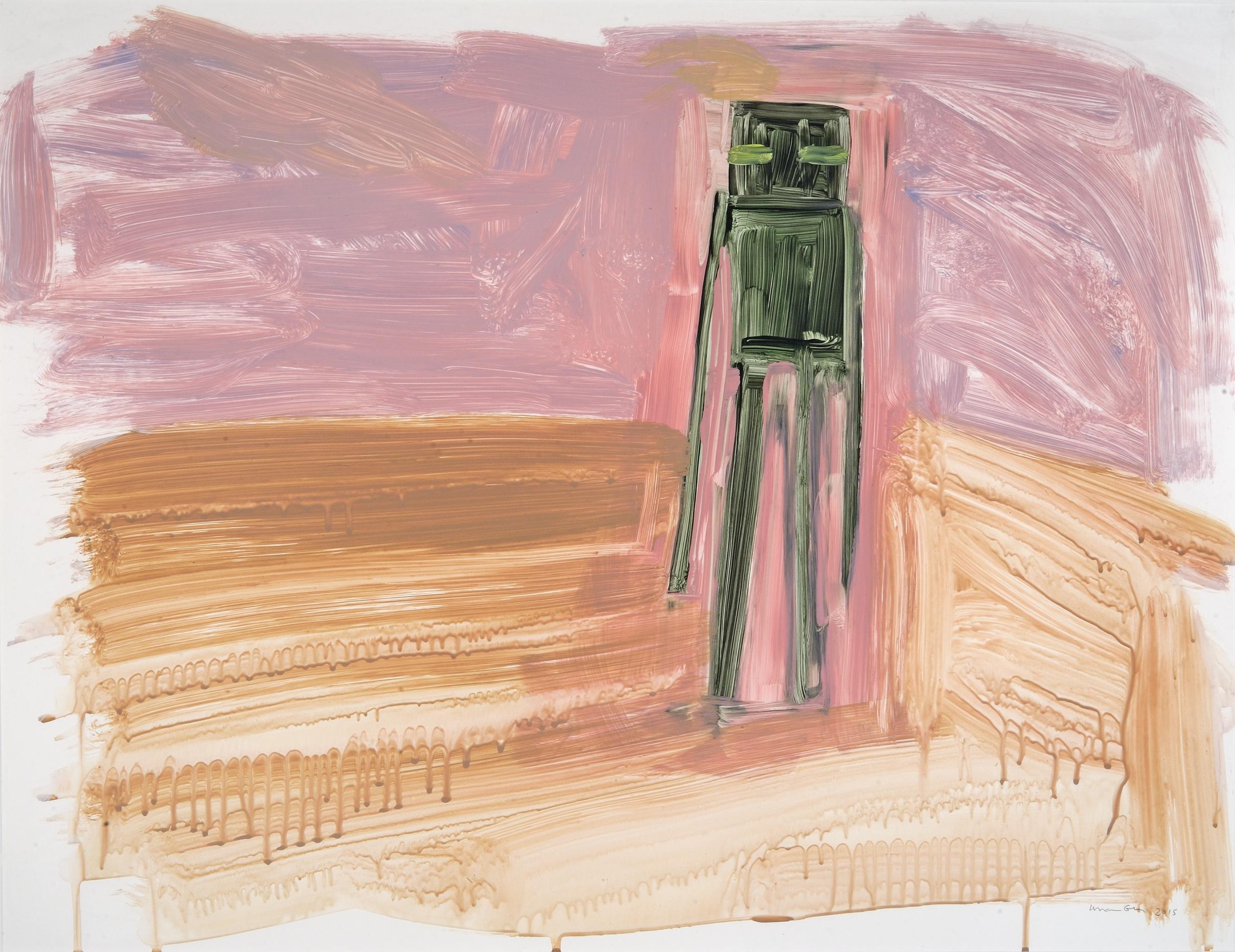 "Untitled (Enderman walking) Acrylic + gouache on Yupo, framed 26"" x 20"" (unframed) 2015"