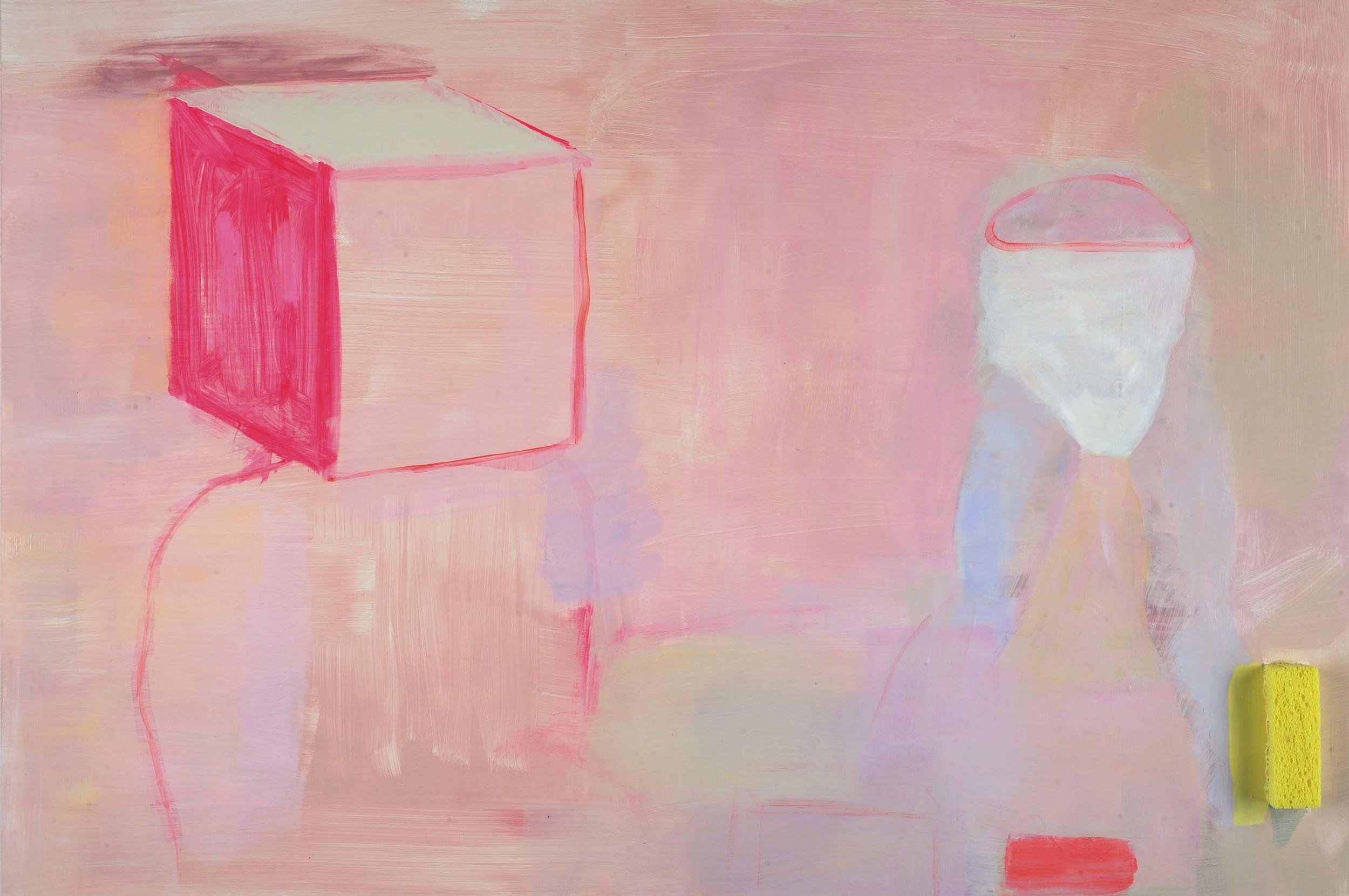 """Blockhead Acryilc, gouache and sponge on wood panel 20"""" x 26"""" 2015"""