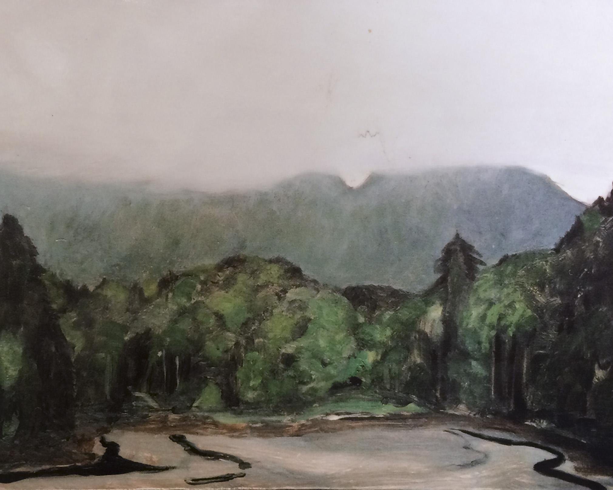 """Fog at Otter Creek Oil on wood panel 9"""" x 12"""" 2002"""