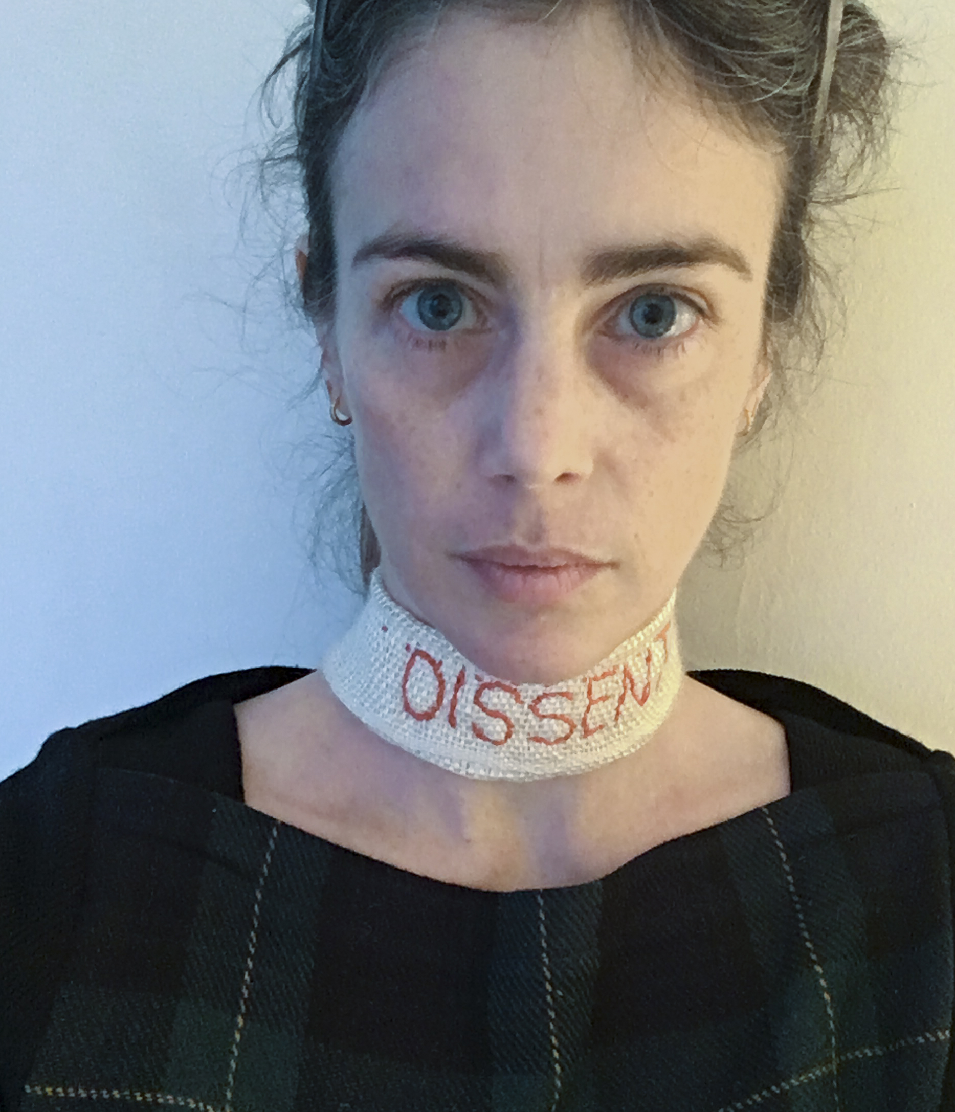 Dissent Collar #13 (made for the Women's March in Washington, D.C., 1/21/17) /Hand-woven silk and wool fabric, embroidery thread, safety pin