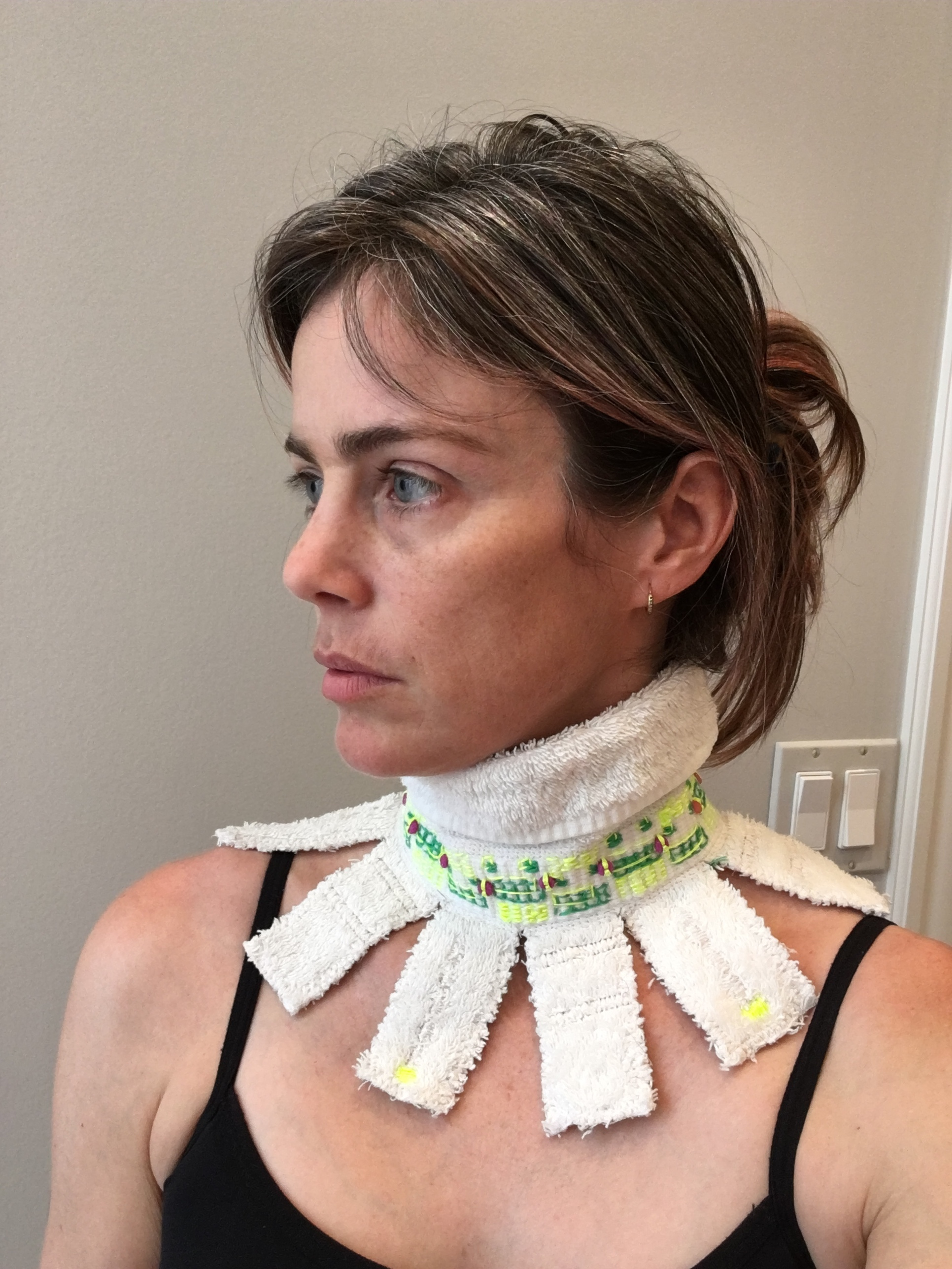 Dissent Collar #18 (Terry cloth, embroidery floss, thread, safety pin, beads)