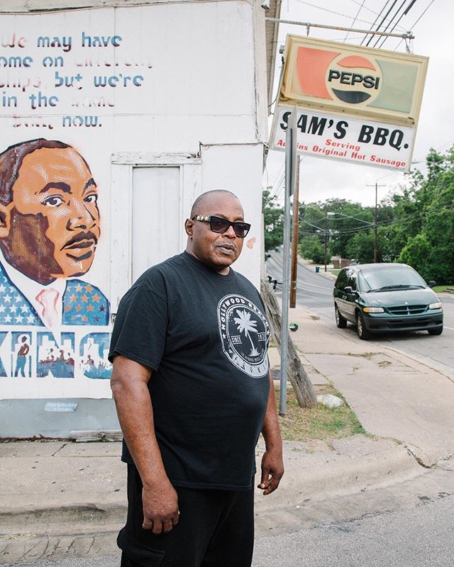 Outtake of Brian Mays of Sam's BBQ I shot for the July issue of @austin_monthly. He's an East Austin legend who has consistently turned down multimillion dollar offers to sell his land. Thanks to @saraintheweeds for the assignment