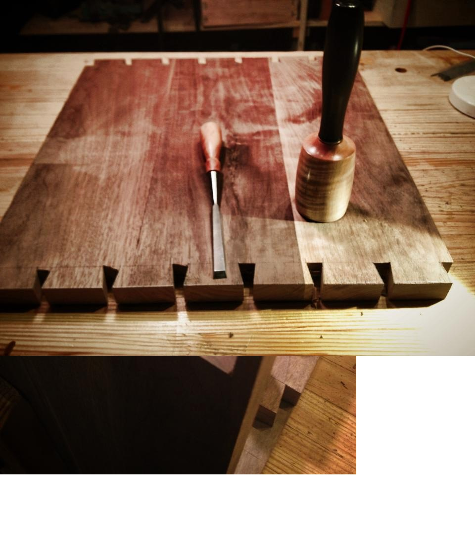 Cutting out the waste on the dovetails.