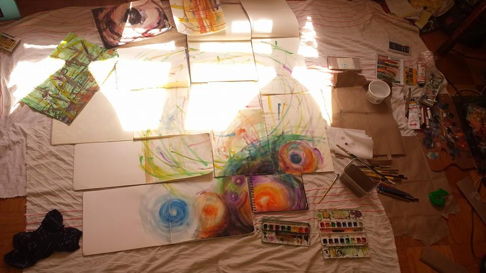 Compelled to paint, the following morning after my Spirit Bath and Spirit Walk + Talk, after my self care (shitting, journaling - this journal entry in fact - bathing, spirit bath, eating), I put all the water color sketch books I have onto the center of the floor. Some were my grandfather's who was an artist and painter. This is the beginning.