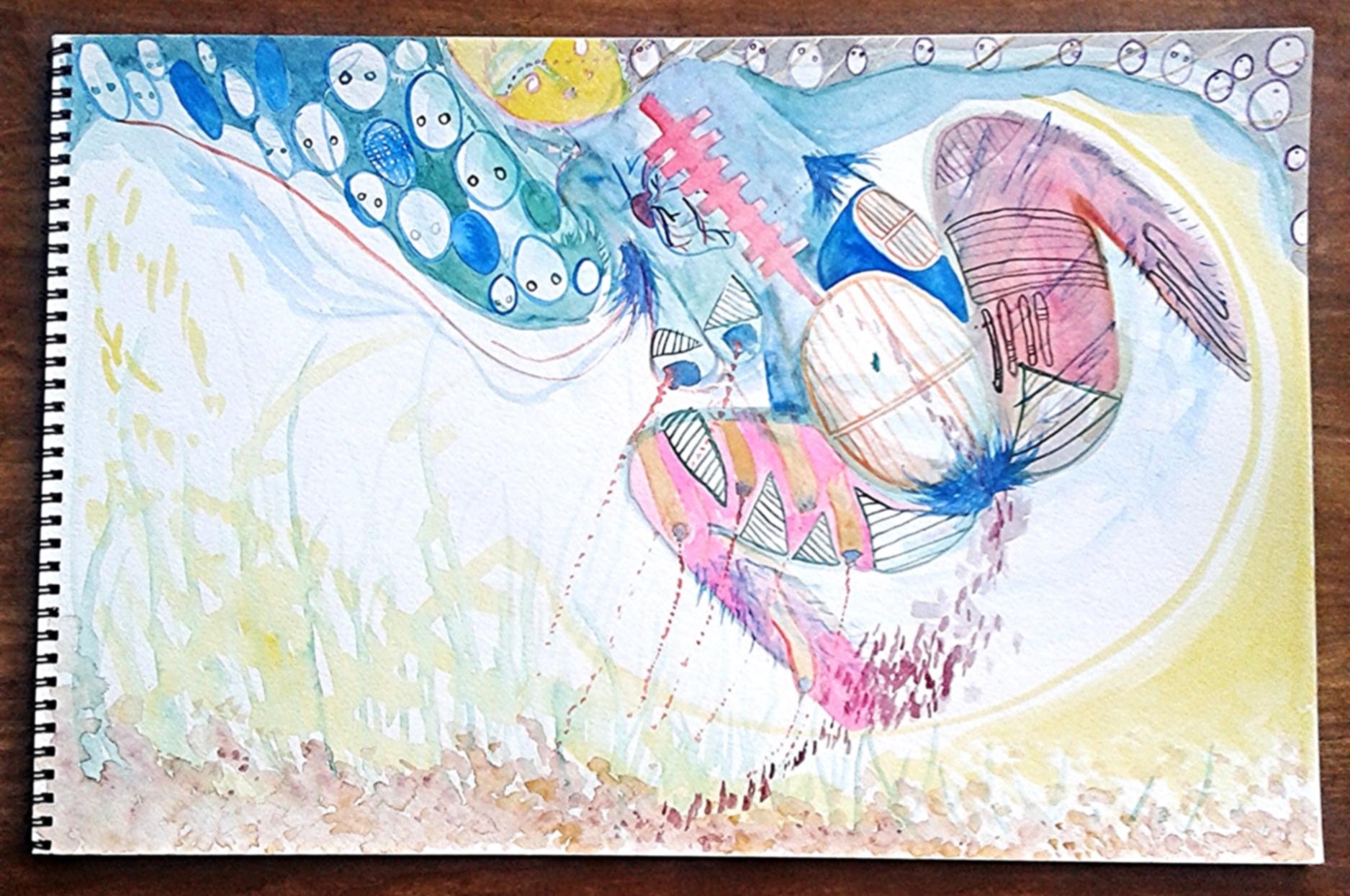 Work in progress, miscarriage art, watercolor, Fall 2014